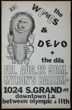 flyer for DEVO / the Weirdos / the Dils show in L.A.
