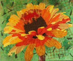Handmade Art Quilt Zinnia by joystrings on Etsy