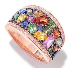 EFFY 14K Rose Gold 3.80ctw Multi Sapphire, Tsavorite & Diamond Band Ring