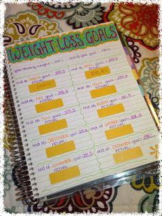My weight loss goals in my erin condren life planner! So inspirational! countdowntoprincess.blogspot.com