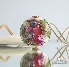 1 big handmade lentil bead focal  SRA  glass by calypsosbeads, $44.00