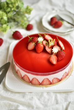 Small Desserts, Cute Desserts, Sweets Recipes, Delicious Desserts, Cake Recipes, Yummy Food, Strawberry Cream Cakes, Strawberry Desserts, Raw Cake