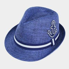 Nautical Anchor Straw Hat Blue Fedora