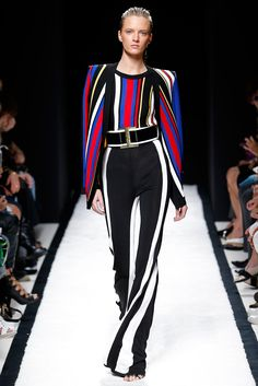 The striking basics: blue+ red + yellow and black + white. Balmain, RTW Spring 2015. Photo: Monica Feudi / Feudi e Guaineri http://www.style.com/slideshows/fashion-shows/spring-2015-ready-to-wear/balmain/collection/43