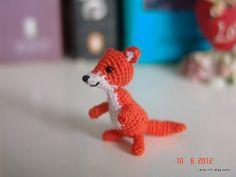 Miniature baby fox  Tiny amigurumi crochet animal by LamLinh, $20.00