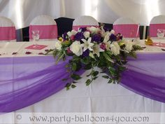 Purple Wedding Table Ideas | Wedding Balloons Fresh & Silk Flowers Pew End Bows Chair Cover Hire ...
