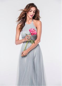 d83217183f  77.99  Delicate Tulle Halter Neckline Backless A-line Bridesmaid Dresses  With Pleats