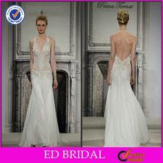 Attractive Applique Deep V-neck Sexy Organza Halter Wedding Dress China - Buy Wedding Dresses China,Sexy Wedding Dresses,Halter Wedding Dres...