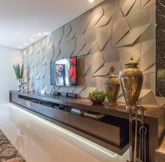 45 amazing tv unit design ideas for your living room 9 Tv Wall Design, Tv Unit Design, Home Room Design, Living Room Designs, Living Room Theaters, Textured Wall Panels, Home Cinema Room, Home Theater, Living Room Tv Unit