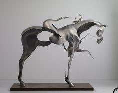 steel sculpture | Dissolving Figurative Sculptures by Unmask sculpture horses