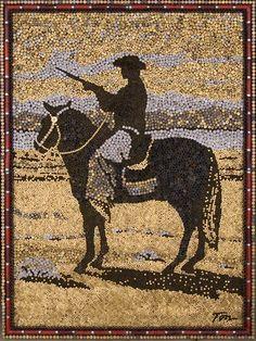 Mosaico elaborado a base de munición.