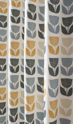 Addington Saffron Made to Measure Curtains | Yellow and Grey ...