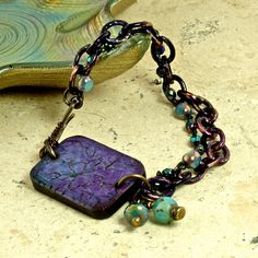 Purple Passion Artisan Embossed Wood Patina Chain by enlalumiere, $55.00  I was browsing bracelets for patina techniques and saw this.  Love it!
