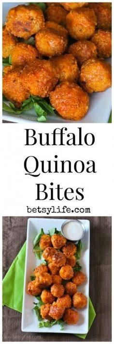 Buffalo Quinoa Bites. A healthy snack recipe your whole family will love! Pair this with a salad for a great meal.