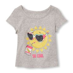 Baby Girls Toddler Matchables Short Slit Sleeve Glitter 'So Cool' Graphic Top - Gray - The Children's Place