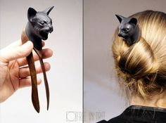 Hairfork Sphynx cat - Wood Sculpture Gift women Hairpin Black cat- Hair Stick Hairstick -Gothic gift Hair Accessories - mystic hair fork - New Ideas Gothic Hairstyles, Diy Hairstyles, Hair Barrettes, Hair Clips, Wire Jewelry Patterns, Diy Resin Crafts, Sphynx Cat, Diy Hair Accessories, Hair Sticks