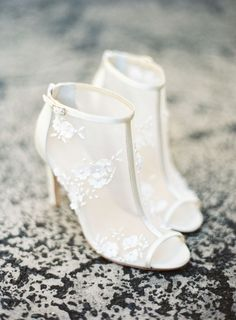 Wedding Shoes 3D floral mesh booties with peep toe. Romantic, modern, on-trend! Shoes: Bella Belle - http://www.stylemepretty.com/portfolio/bella-belle Wedding Dress: Alexandra Grecco - http://www.stylemepretty.com/portfolio/alexandra-grecco-2 Read More on SMP: http://stylemepretty.com/vault/gallery/109107