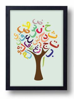 Items similar to Arabic Alphabet Tree Poster on Etsy Montessori, Alphabet Arabe, Trees For Kids, Arabic Alphabet For Kids, Learn Arabic Online, Arabic Phrases, Alphabet Songs, Islam For Kids, Calligraphy Alphabet