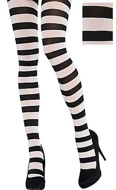 Adult Black and White Striped Tights