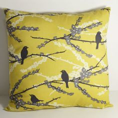 16 x 16 Decorative Throw PIllow Cover one cover Joel Dewberry Aviary 2 Vintage Yellow Sparrows Granite gray slate yellow Grey Pillows, Fluffy Pillows, Bird Pillow, Vintage Yellow, Cute Pattern, Throw Pillow Covers, Decorative Throw Pillows, Cushions, Sparrows