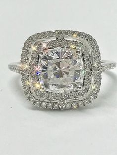 A Flawless Asscher Cut Double Halo Russian Lab Diamond Engagement Ring - Joy of London Jewels White Gold Wedding Rings, Diamond Wedding Rings, Bridal Rings, Diamond Engagement Rings, Princess Cut Engagement Rings, Engagement Ring Settings, Silver Ring Designs, Golden Jewelry, Lab Diamonds