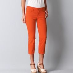LOFT Modern Crop Jeans in Summer Orange Brand new with tags, super flattering but a different color than I expected. Great bright summer orange. Would fit an 8/10 nicely. LOFT Pants Ankle & Cropped