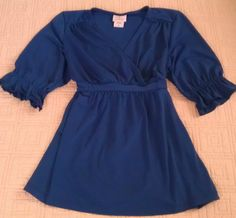 TOO CUTE! Faux-wrap, blue top by Oh, Baby! Maternity Sz MEDIUM ~EUC~