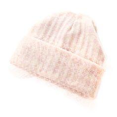 Light Pink Wide Rib Veiled Beanie Hat
