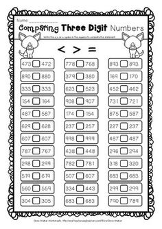 Comparing Three Digits Numbers / Greater Than / Less Than Worksheets 3 digits Math Addition Worksheets, Math Practice Worksheets, 2nd Grade Worksheets, Math Resources, Free Worksheets, Math Classroom, Maths, Math Charts, Math Patterns
