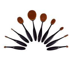 Artist Collection Luxurious 10-piece Oval Makeup Foundation Contouring Brush Set