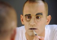 """Tom Corbeil, who plays Lurch in """"The Addams Family,"""" applies makeup to transform himself into character before a show at Proctors on Wednesday, Nov. 30, 2011 in Schenectady, N.Y. (Lori Van Buren / Times Union) Photo: Lori Van Buren"""