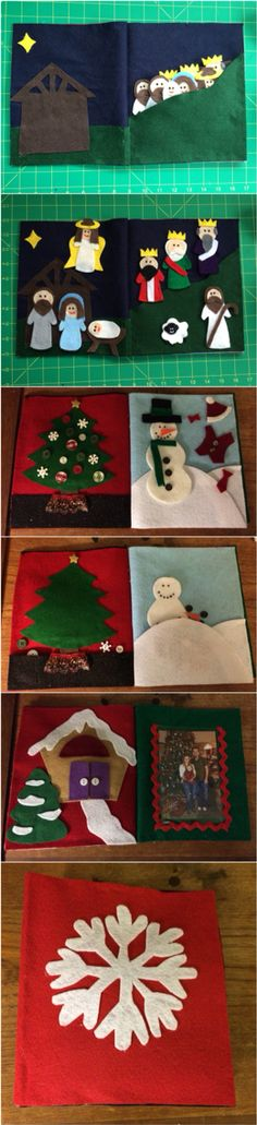 Christmas busy book. First 2 pages: nativity scene that packs up in the hill. Third page: decorate a Christmas tree. Fourth page: build a snowman. Fifth page: lift the flap gingerbread house. Sixth page: vinyl picture slot to insert a family photo. Cover: snowflake
