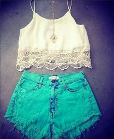 Blue green high-waisted shorts and white crop top the cutest outfit ever! White Vest Outfit, Vest Outfits, Short Outfits, Teen Fashion, Fashion Outfits, Womens Fashion, Fashion Ideas, Cute Summer Outfits, Cute Outfits