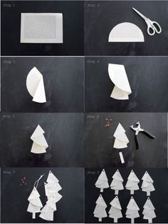 Anleitung für die Bäumchen aus alten Buchseiten… Tutorial… – HANDMADE Kultur And I fold and fold …. Instructions for the trees from old book pages … Tutorial … – HANDMADE culture … Noel Christmas, Christmas Crafts For Kids, Simple Christmas, Holiday Crafts, Origami Christmas Tree, Paper Christmas Ornaments, Papier Diy, Navidad Diy, 242