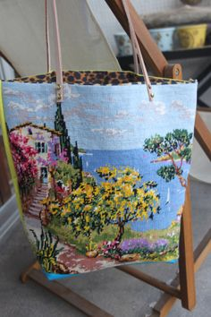 RIVIERA  Tote bag in vintage tapestry by QuatreJanvier on Etsy, €59.00