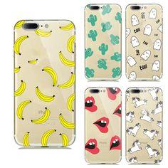 ソフトtpuケースappleのiphone 7ケースシリコンフルーツレモンバナナemojioドーナツマカロンパラスケースiphone用7バックカバー