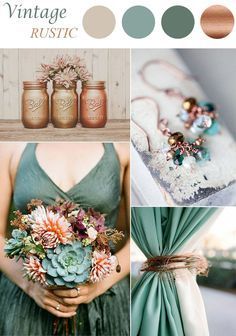 sage and brown vintage wedding color schemes
