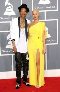 Wiz Kahlifa and Amber Rose arrive at the 54th Annual GRAMMY Awards held at Staples Center on February 12, 2012 in Los Angeles, California.