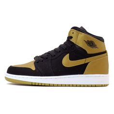 NIKE AIR JORDAN 1 RETRO HIGH BG BLACK/GOLD 【CARMELO ANTHONY】 KICKS... ❤ liked on Polyvore featuring shoes, sneakers, jordans, nikes, retro inspired shoes, retro style shoes, retro shoes, gold sneakers and nike shoes