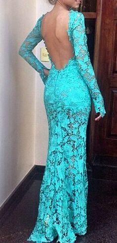 Cutout Back Long Sleeve Maxi Lace Dress