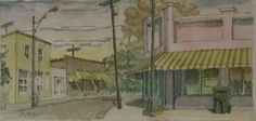 Pendleton Street Corner Cafe (w/c) x Mark Mulfinger - Hampton III Gallery Corner Cafe, City Streets, The Hamptons, Watercolor, Gallery, Painting, Pen And Wash, Watercolor Painting, Coffee Nook