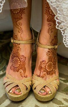 Henna Feet with Gold High Heels