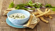 This quick and easy Blue Cheese and Spring Onion dip is filled with indulgent flavours that are sure to please a crowd of friends. Vegetarian Dip Recipe, Healthy Dip Recipes, Healthy Dips, Cooking Recipes, Onion Dip, Throw A Party, Savory Snacks, Food N, Love Food