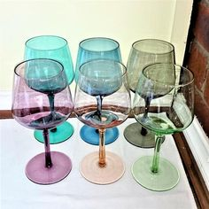Check out this item in my Etsy shop https://www.etsy.com/au/listing/529907466/rare-tinted-coloured-wine-glasses-1940s