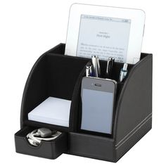 The Executive Desk Box with Memo Pad features a leatherette finish with white contrast stitched storage drawer which contains 100 memo pages, mobile phone/business card holder, pen holder and small tablet/letter holder. Desktop Organization, Office Organization, Business Gifts, Business Card Holders, Business Cards, Desk Gifts, Promotional Giveaways, Letter Holder, Office Items