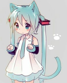 Chibi neko Miku! (≧∇≦)/ Anime Neko, Anime Art, Vocaloid, Illustration Kawaii, Loli Kawaii, Anime Kunst, Cute Chibi, Asuna, Cute Art