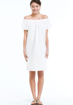 """Woven dress in an A-line silhouette. Has elastic neckline that can be worn on or off the shoulder. Short raglan sleeves. Straight bottom hem.Fabric:100% cottonMachine washImportedMeasurementsLength: Above knee36"""", center back"""