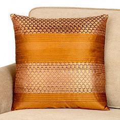 Rust Brown Sari Toss Pillow