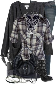 """Plaid Shirt and Jeans"" by jackie22 ❤ liked on Polyvore"