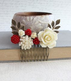 Red Rose Hair Comb Ivory Cream Rose Comb by apocketofposies